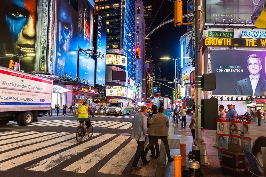 Broadway Avenue in New York City at night People Streetphotography New York Travel City Street Mode Of Transportation Transportation Architecture Text Land Vehicle Real People City Life City Street Illuminated Advertisement