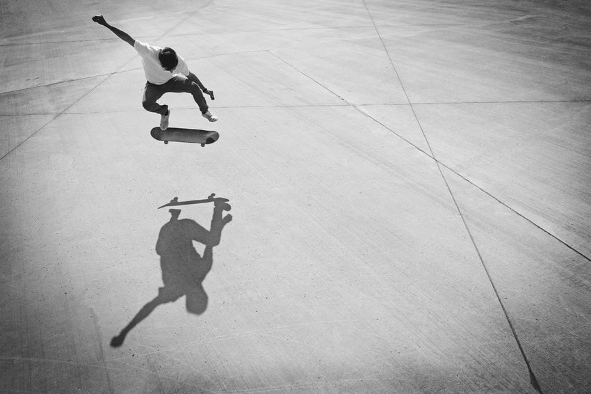 Black And White Blackandwhite Creative Creative Light And Shadow Jumping Lifestyles Mid-air Shadow Skateboard Skill  Sport The Street Photographer - 20I6 EyeEm Awards