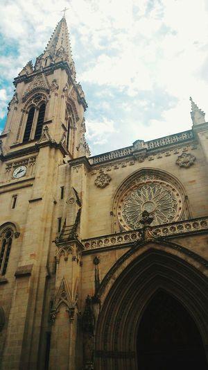 Bilbao Bilbaostreets Cathedral Oldtown Sky Clouds And Sky España