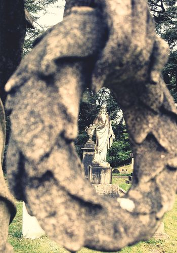 Statue Looking Through An Object Looking Through... Religion N Faith Cemetery Photography Outdoors No People Spirituality Statues And Monuments Low Angle View Human Representation