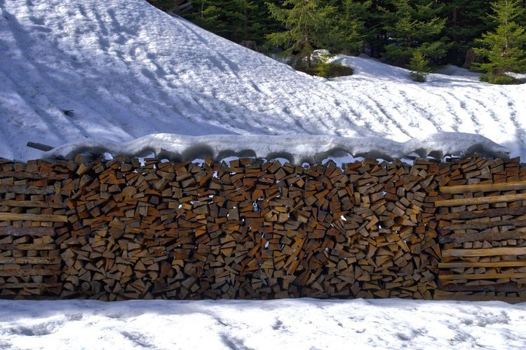 Abundance Day Heap Industry Log Nature No People Outdoors Snow Stack Winter Woodpile Shades Of Winter