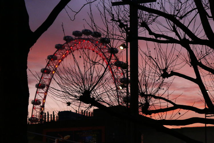 Silhouette Dusk Sky Ferris Wheel Sunset Illuminated Silhouette London Sky Line London Skyline At Night Night Light Night Lights Night Photography Close-up London In Colours Ferris Wheel London Eye Sillouettes And Sunsets Sillouettes Red Adapted To The City The City Light Welcome To Black EyeEm LOST IN London
