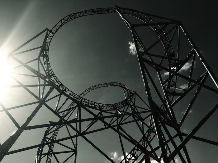Low Angle View No People Day Sky Outdoors Roller Coaster Sun Shadow Blue Sky Blue Sunlight Blackandwhite Black And White Hansapark Clouds Fun Park Architecture Free Live For The Story