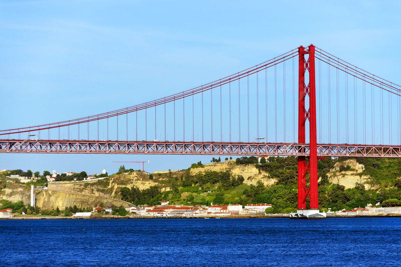 25 De Abril Bridge Over Tagus River Against Sky