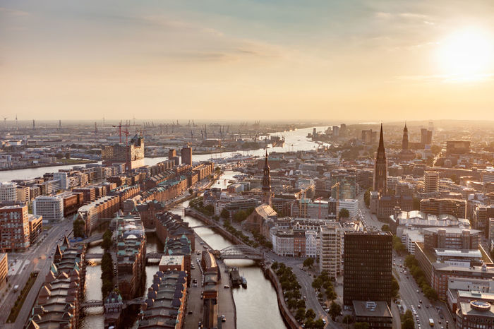hamburg Cityscape Skyscraper City Sunset Urban Skyline High Angle View Aerial View Architecture Downtown District Travel Destinations Office Building Exterior Building Exterior Sky Business Finance And Industry Outdoors Sunlight Business Day No People Horizontal Travel Photography Sunset golden hour port harbor landungsbrücken Sankt Pauli elbphilharmonie