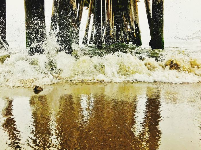 Splashes, Ripples and Bubbles Waves Sea Life Under Under The Bridge Post Salty Water Wet Rock Reflections California Capitola Ocean Water Wharf