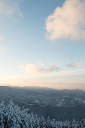 Sky Cloud - Sky Scenics - Nature Beauty In Nature Winter Environment Cold Temperature Tranquility Tranquil Scene Snow Landscape Nature No People Non-urban Scene Mountain Sunset Day Idyllic Outdoors Snowcapped Mountain
