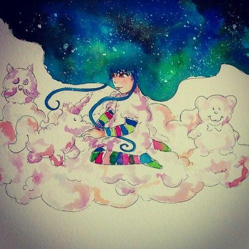 Fioresole ama creare pupazzi con le nuvole del suo vestito *^* Fioresole Sky Stars Starrynight OC originalcharacter manga mangaitaliano fiaba bambini unicorno unicorn ecoline sketch disegno draw