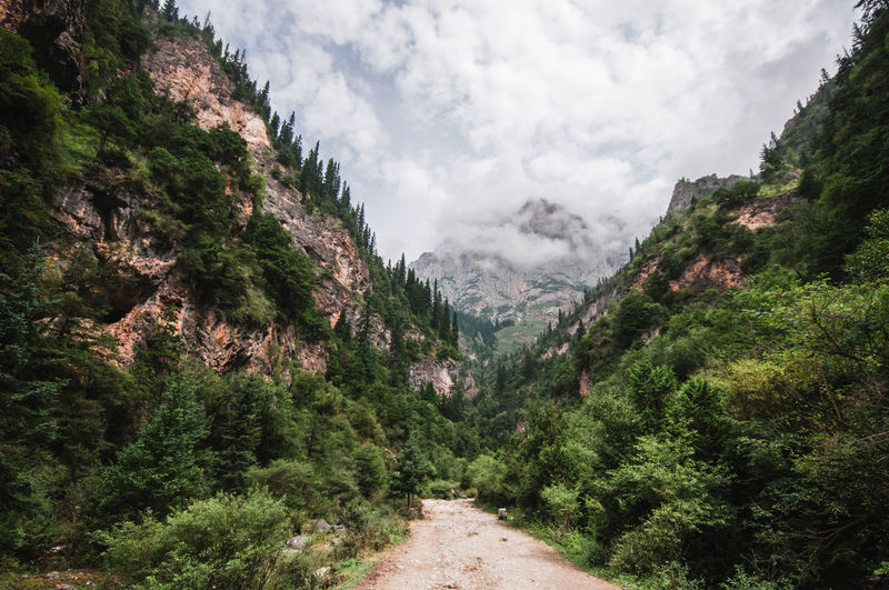 Valley of sacred mountain. Beauty In Nature China Gannan Gansu Province Landscape Landscapes Majestic Mountain Mountain Range Nature Nature Scenics Sky The Way Forward Tranquil Scene Tranquility Travel Valley Zhagana