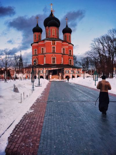 Architecture Built Structure Building Exterior Sky Snow Winter Building Day Place Of Worship Incidental People Tree Cloud - Sky Religion Street Cold Temperature Nature City Direction