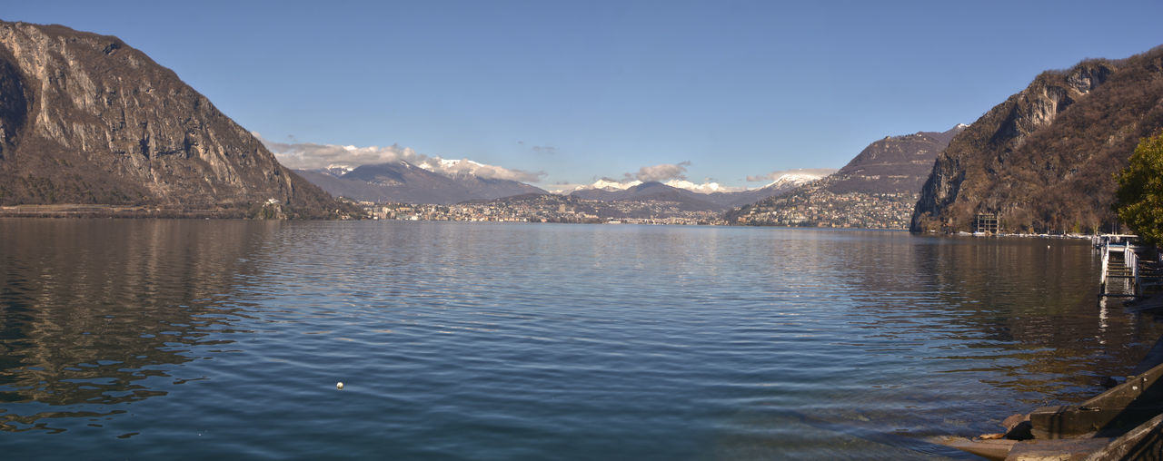 Scenic View Of Lake With Mountain Range In Background