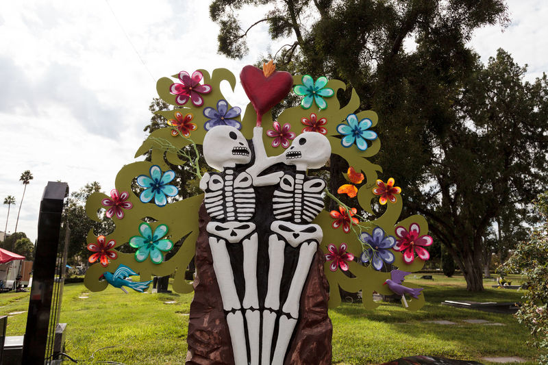 Flower and skeleton alter at Dia de los Muertos, Day of the dead, in Los Angeles at the Hollywood Forever Cemetery grounds. Editorial use only. All Saints Day Alter Day Of The Dead Dead Death Decor Decoration Dia De Los Muertos Flowers Halloween Remembrance Skull