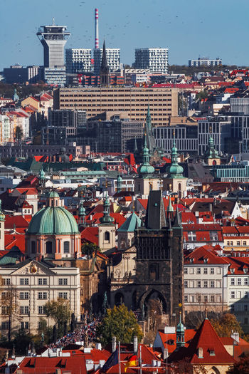 High angle view of prague townscape