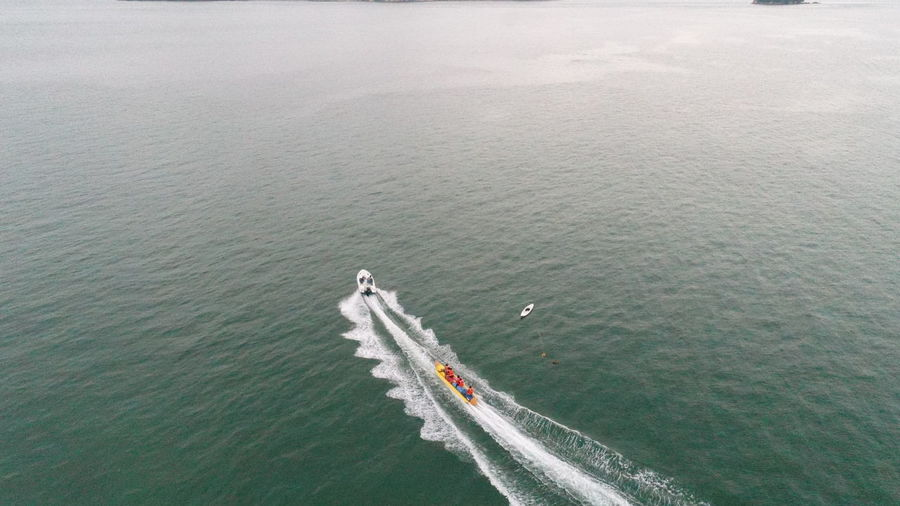Beauty In Nature Boat Day High Angle View Jet Boat Mode Of Transport Nature Nautical Vessel No People Outdoors Sailing Scenics Sea Transportation Wake Wake - Water Water Waterfront