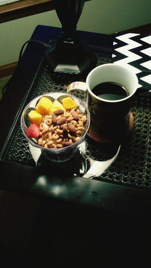 Coconut Greek yogurt with fiber plus oats and frozen fruit :)