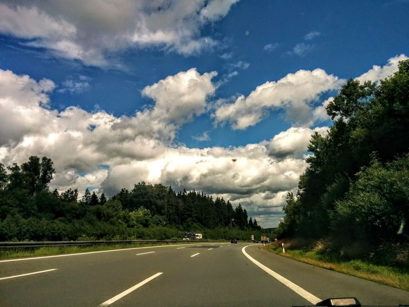 On The Way Highway On The Streets Frankenland Streetphotography Green Clouds And Sky Clouds Happy Day Back Home ♥ Holiday Franken From The Car Window Asphalt