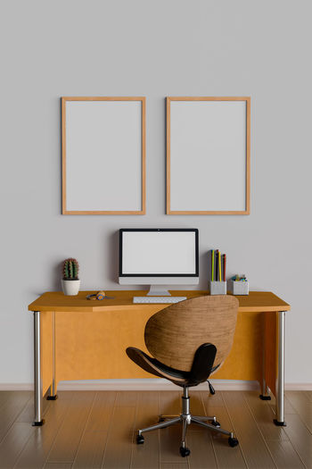 Table Indoors  Furniture Seat Empty Flooring Chair No People Wood - Material Absence Technology Desk Wall - Building Feature Home Interior Computer Business Office Copy Space Picture Frame Education Wood Blank Modern Home Office