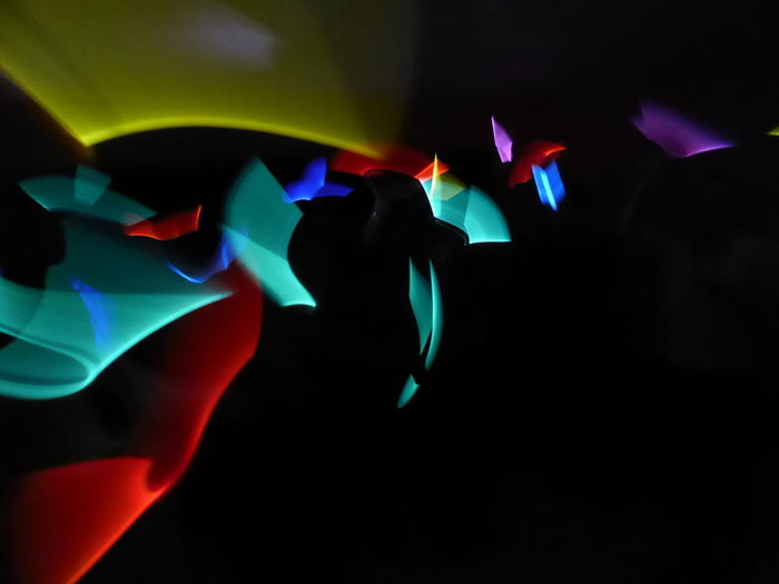 Black Background Disco Lights Light Painting Light Patterns Multi Colored Neon Colours Neon Lights No People Red Blue Green Yellow