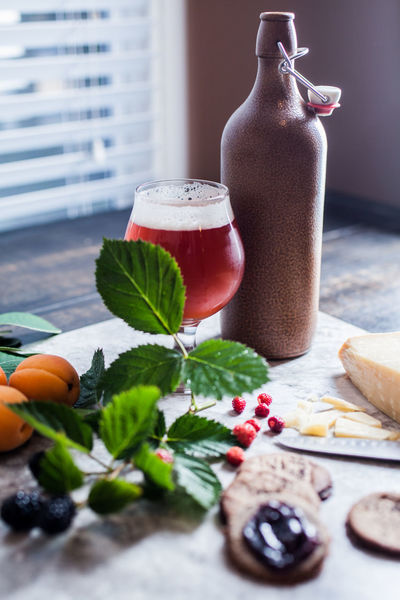 Beer Beauty In Nature Day Drink Drinking Glass Food Food And Drink Freshness Fruit Glass Healthy Eating Herb Household Equipment Indoors  Leaf Mint Leaf - Culinary No People Plant Plant Part Refreshment Still Life Table Wellbeing