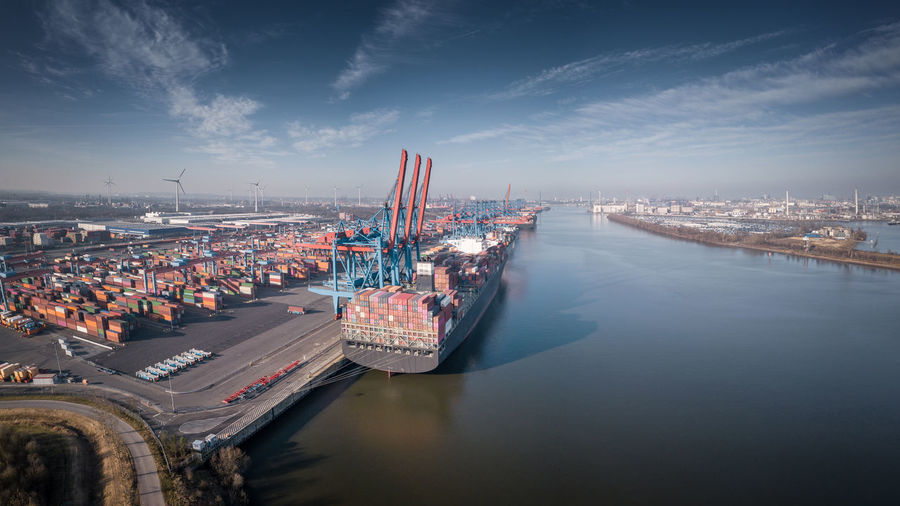 Aerial photograph of a terminal for containers in the port of hamburg