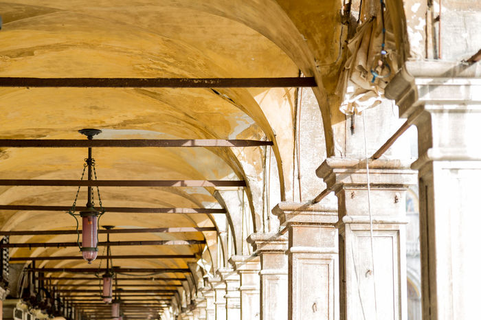 Rialto market Arches Architecture Architecture Beauty In Nature Built Structure Column Compressed Perspective Day Historic Low Angle View No People Rialto Market Stone Yellow