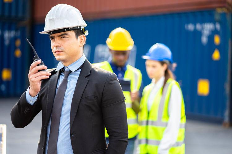 Young man working at camera