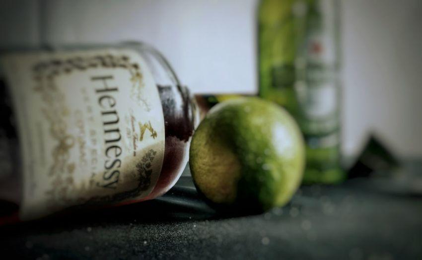 Indoors  Close-up No People Hennessy Heineken Heineken Beer Lime Salt Liquir Alcohol Coldbeverage