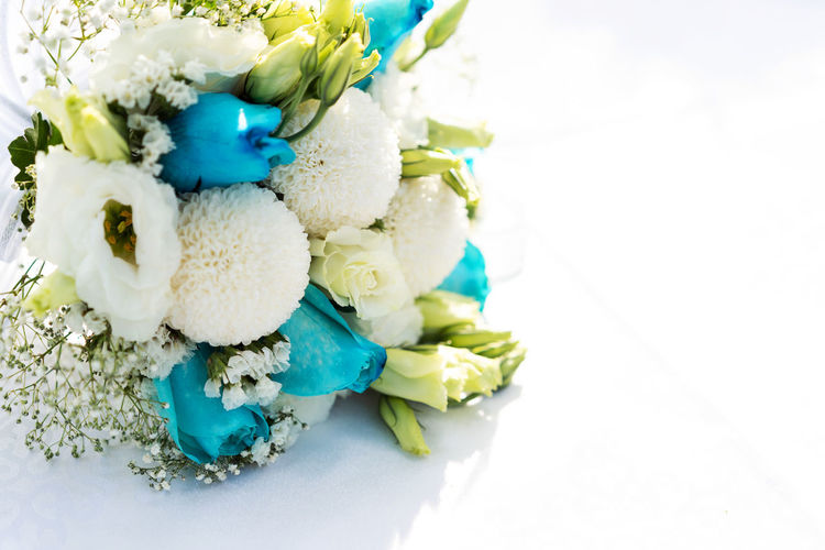 High angle view of flower bouquet on white background