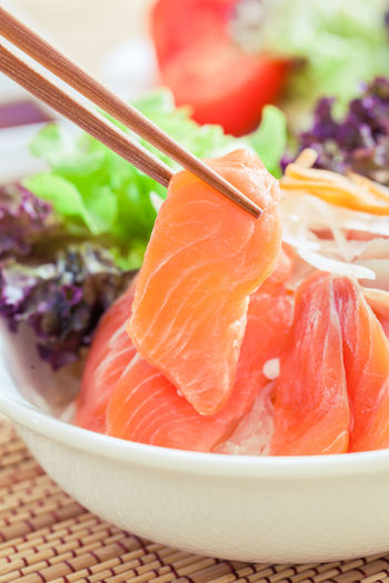 Close-up of fish in bowl