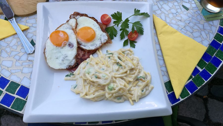Restaurant Pasta Plate Fried Egg High Angle View Egg Close-up Food And Drink Sunny Side Up Egg Yolk Egg White Fried