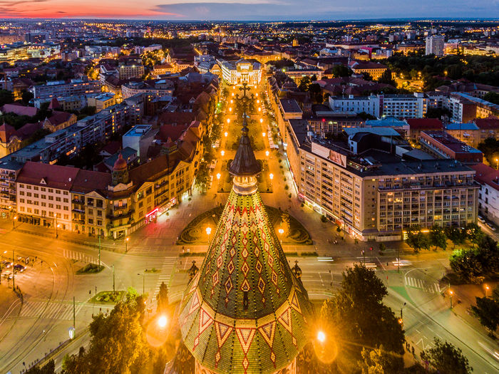 Downtown Timisoara Dusk View Cityscape Building Night City City Life Travel Destinations High Angle View Architecture Built Structure Church Cathedral Timisoara, Romania Timisoara City At Night European Architecture Europe Romania Sky Building Exterior