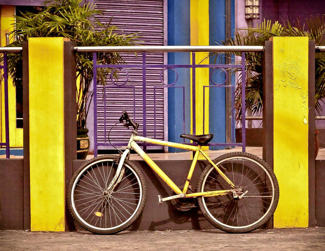 Bicycle parked at roadside