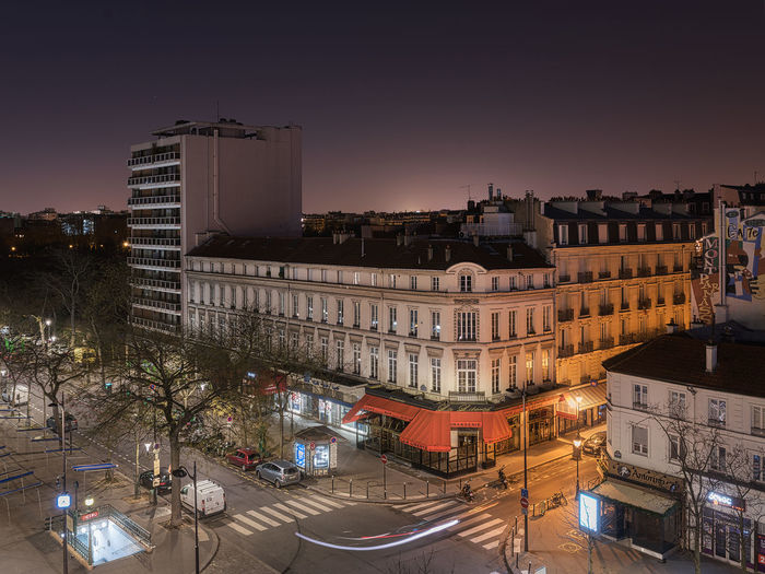 January 1st 2018 morning - Paris. Montparnasse Night Lights Night Photography Nightphotography Paris Paris By Night Paris ❤ Paris, France  ParisByNight Architecture Building Exterior Built Structure City Cityscape Clear Sky Illuminated Metro Station Night Night View No People Outdoors Sky Sunset Travel Destinations Tree Mobility In Mega Cities Colour Your Horizn