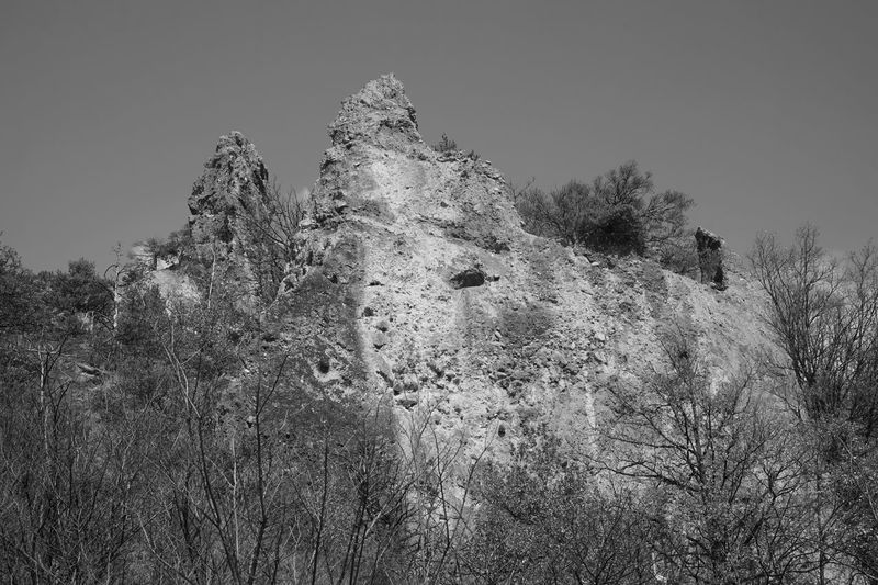 Black & White Blackandwhite Blackandwhite Rock Formation Rock - Object Salgesch Wallis Low Angle View No People Clear Sky Day Outdoors Nature Growth Tree Sky Beauty In Nature