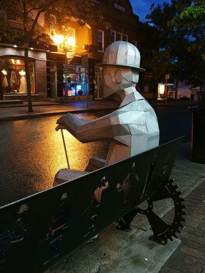 Who would meet Charlie Chaplin?! Mypointofview Night Night Lights Loneliness Streetphotography Sculpture Metal Charlie Chaplin Streetart City The Street Photographer - 2018 EyeEm Awards