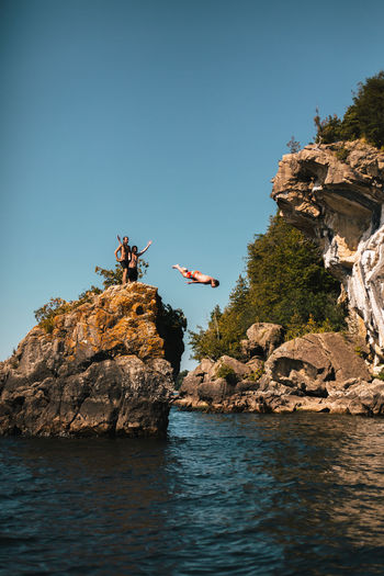 Cliff Diving Dive In Swimming Head First Lake Champlain Summer