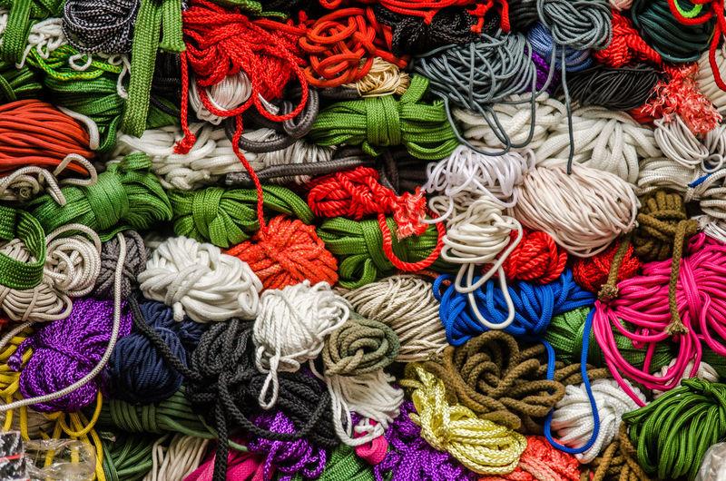 Full frame shot of multi colored yarn