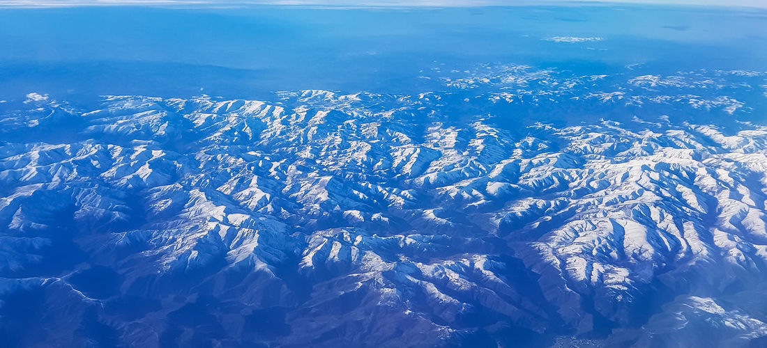 Mountains Airplaneview Blue Snow Winter Sky Ice