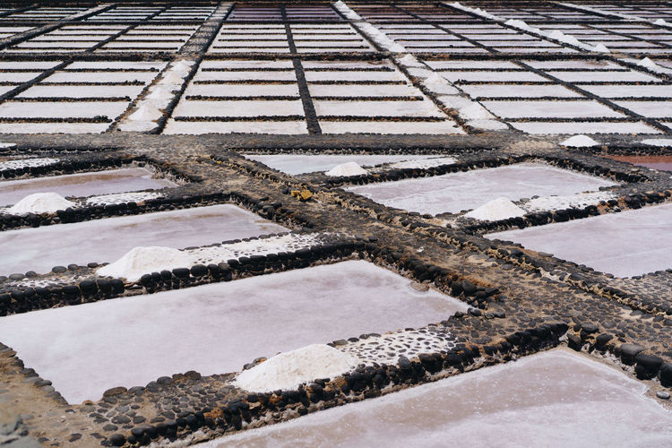 This is close up picture of salty water pools in traditional salt mine factory field near the Atlantic ocean. Mine Salt White Food Field Farm Water Mineral Culture Salty Nature Travel Evaporation Traditional Sea Production Sacred Pond Reflection Valley Salinas Pile Civilization Crystal Lake Tourism Tourist Beautiful Industry Dry Saline Museum Canary Islands Fuerteventura Carmen Close Up Texture Reservoir Pool Process Original Old Making Spanish Ocean Atlantic Outdoor Salt Basin Salt - Mineral