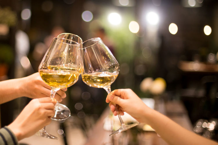 Group of friend toasting celebration with glass of white wine