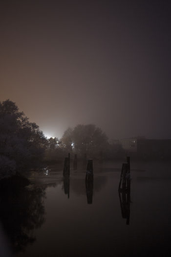 Day Evening Fog Foggy Foggy Morning Frozen Lake Misty Nature Night Time No People Outdoors Reflection Scenics Silhouette Sky Tranquil Scene Tranquility Tree Water Wet Wintertime