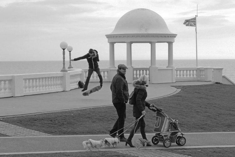 #delawarrpavilion B&w Bexhill On Sea, East Sussex, UK Blackandwhite Dome People Skateboarding Travel Destinations