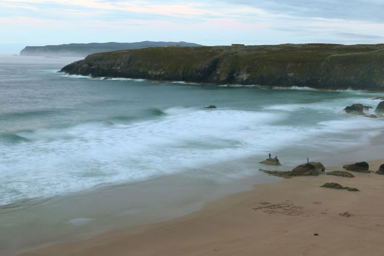 Beach at Sango. Water Beach Sea Nature Beauty In Nature Sand Landscape Sky Travel Destinations Day Wave Beauty Motion Outdoors Scenics Scotland Beauty In Nature North Coast 500 Travel Durness, UK Sango Sands