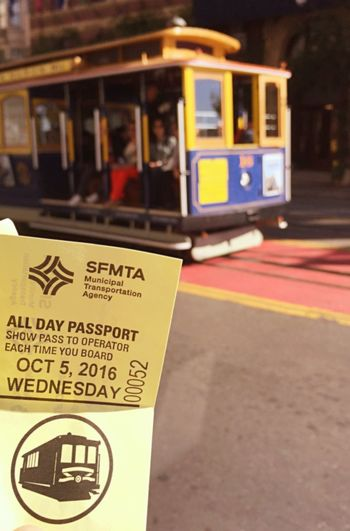 Cable Car USA San Francisco Mode Of Transport Public Transportation Transportation Outdoors Day Street Downthehill California