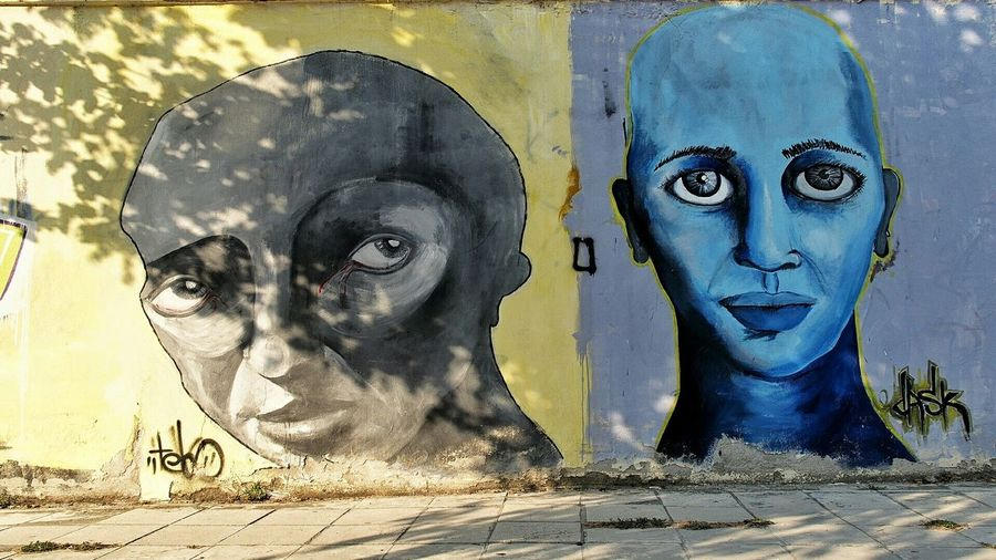 Two Of A Kind Graffiti Wall Colorful Frontal Shot Color Photography I See Faces (The Original) in Πτολεμαΐδα Ελλάδα VisitGreece