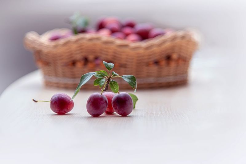 Food Food And Drink Healthy Eating Fruit Freshness Wellbeing Close-up Indoors  Still Life Selective Focus Plant No People Table Nature Focus On Foreground Studio Shot Basket Flower Container Flowering Plant Purple Kleine Pflaumen Frisches Obst Bio Mini Pflaumen Frische Früchte Soft Light