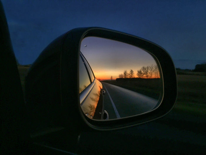 Sunset End Of Day colors Road Trip Looking Back Trees Miror Réflexion Side Blue Night Lights IPS2015Light My Best Photo 2015 The Great Outdoors - 2016 EyeEm Awards The Drive