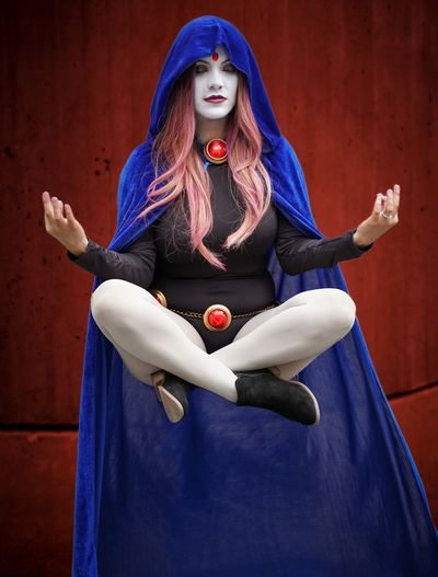 Raven - Teen Titans Raven Teentitans Cosplayer Cosplay Nycc2018 NYCC Front View One Person Real People Indoors  Full Length Young Women Women Young Adult Blue Lifestyles Red Dyed Hair Beautiful Woman