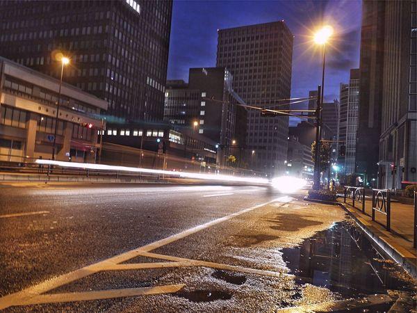 Early Morning nearly Tokyo Station 5:38 a.m Yesterday : Reflections Night Lights Laser Beam Chiyodaku Ootemachi Tokyo,Japan Eitai dori 永代通り Yesterday 1st Shot / Lumix GX1 50mm LUMIX G VARIO 14-45/F3.5-5.6 Long Exposure