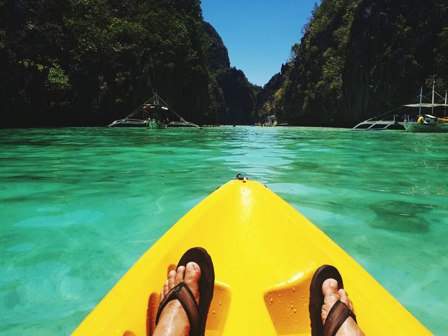 Highly recommended island hopping places! Located at Elnido Palawan, Philippines! Explore the biggest lagoon in El nido! Had a lot of fun out there. Personal Perspective Low Section Water Relaxation Leisure Activity